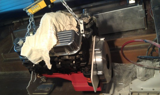 """During - """"new"""" Chevy motor going in"""